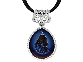 Blue Drusy Sterling Silver Pendant With Triple Strand Leather Cord