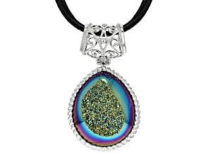 Rainbow Green Drusy Rhodium Over Sterling Silver Pendant With Triple Strand Leather Cord