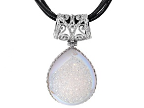 White Drusy Sterling Silver Pendant With Triple Strand Leather Cord