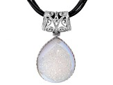White Drusy Rhodium Over Sterling Silver Pendant With Triple Strand Leather Cord