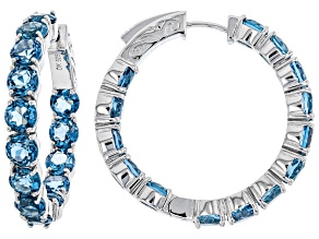 Blue Topaz Rhodium Over Sterling Silver Hoop Earrings 15.10ctw