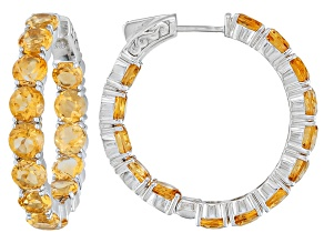 Orange Citrine Sterling Silver Hoop Earrings 11.93ctw