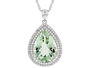 Green Prasiolite Sterling Silver Pendant With Chain 16.55ctw