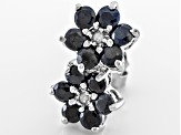 Blue Sapphire Rhodium Over Sterling Silver Stud Earrings 1.84ctw