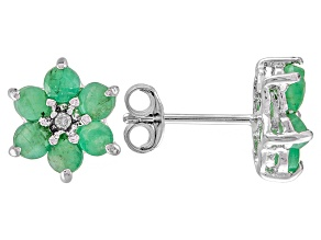 Green Emerald Sterling Silver Stud Earrings 1.36ctw