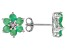 Green Emerald Rhodium Over Sterling Silver Stud Earrings 1.36ctw