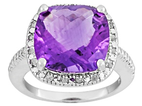 Purple Amethyst Sterling Silver Ring 6.10ctw