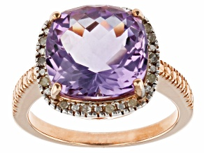 Purple Amethyst 18k Rose Gold Over Sterling Silver Ring 6.10ctw