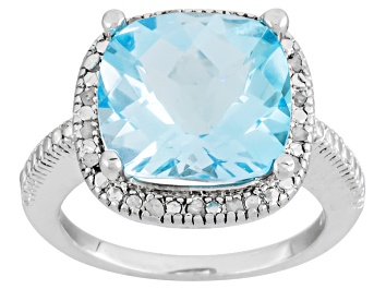 Picture of Blue Topaz Rhodium Over Sterling Silver Ring 7.60ctw