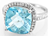 Blue Topaz Rhodium Over Sterling Silver Ring 7.60ctw