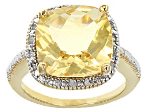 Yellow Citrine And White Diamond 18k Yellow Gold Over Sterling Silver Ring 5.70ctw