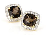 Brown smoky quartz 18k yellow gold over silver earrings 3.66ctw