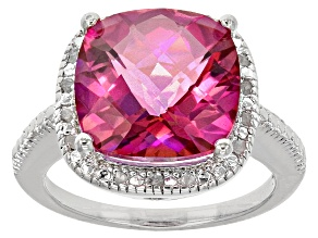 Pink Quartz Sterling Silver Ring 6.10ctw