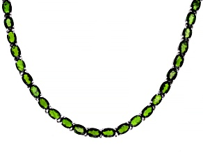 Green Chrome Diopside Rhodium Over Sterling Silver Necklace 39.40ctw