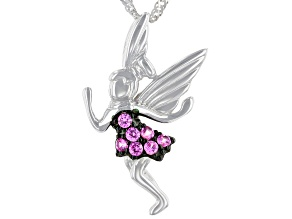 Lab created pink sapphire rhodium over sterling silver fairy pendant with chain .28ctw