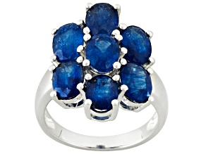 Mahaleo Sapphire Rhodium Over Sterling Silver Ring 4.41ctw
