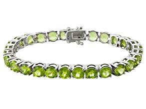 Green Peridot Sterling Silver Tennis Bracelet 27.00ctw