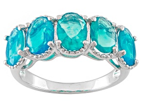 Blue Ethiopian Opal Sterling Silver Ring 2.35ctw