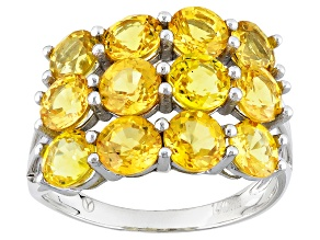 Yellow Sapphire 14k White Gold Ring 4.52ctw