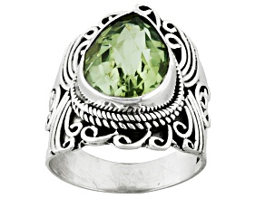 Green Prasiolite Sterling Silver Ring 4.47ct