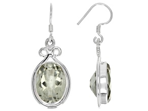 Green Prasiolite Sterling Silver Earrings 12.00ctw