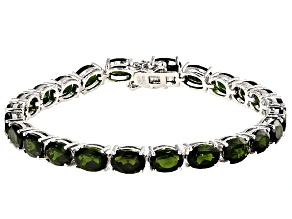 Green Chrome Diopside Rhodium Over Sterling Silver Tennis Bracelet 20.00ctw