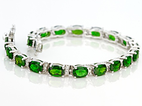 Green Chrome Diopside Sterling Silver Bracelet 15.15ctw