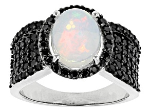 White Ethiopian Opal Sterling Silver Ring 2.44ctw