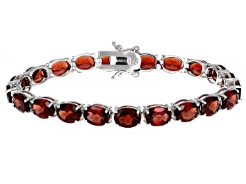 Picture of Red Garnet Rhodium Over Sterling Silver Tennis Bracelet 27.50ctw