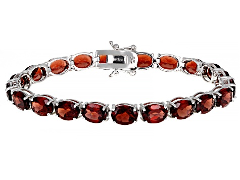 Red Garnet Sterling Silver Tennis Bracelet 27.50ctw