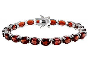 Red Garnet Rhodium Over Sterling Silver Tennis Bracelet 27.50ctw