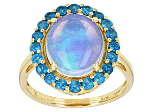 Ethiopian Opal 10k Yellow Gold Ring 3.20ctw
