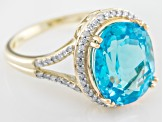 Swiss Blue Topaz 10k Yellow Gold Ring 5.60ctw