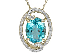 Swiss Blue Topaz 10k Yellow Gold Pendant With Chain 3.45ctw