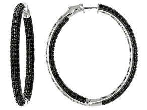 Black Spinel Sterling Silver inside Out Hoop Earrings 9.12ctw