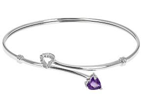 Purple African Amethyst Rhodium Over Sterling Silver Bracelet .67ctw
