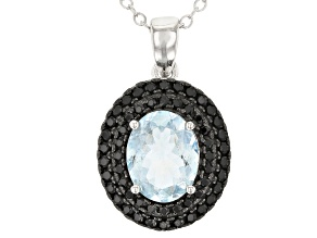 Blue Aquamarine Rhodium Over Sterling Silver Pendant With Chain 1.90ctw