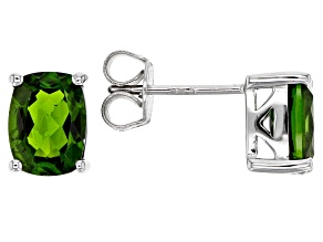 Green Chrome Diopside Sterling Silver Stud Earrings 2.92ctw
