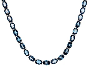 London Blue Topaz Sterling Silver Necklace 58.00ctw