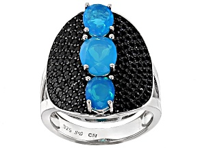 Blue Opal Sterling Silver Ring 3.33ctw