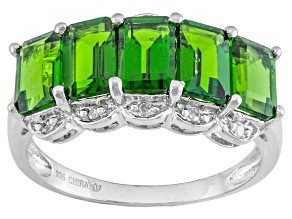 Green Chrome Diopside Rhodium Over Sterling Silver Ring 2.97ctw