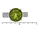 Green Peridot Sterling Silver Ring 4.45ctw