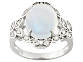 Ethiopian Opal And White Zircon Sterling Silver Ring 2.90ctw