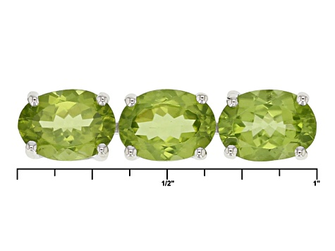 Green Peridot Rhodium Over Sterling Silver Bracelet 24.50ctw