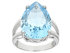 Swiss Blue Topaz Rhodium Over Sterling Silver Ring 12.00ct