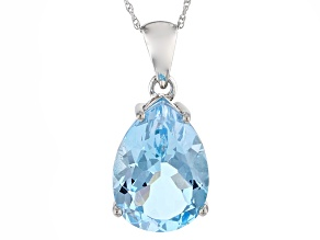 Blue Topaz Rhodium Over Sterling Silver Pendant 12.00ct