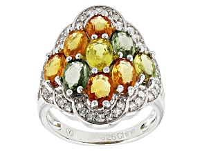 Multi Color Sapphire And White Zircon Sterling Silver Ring 4.65ctw