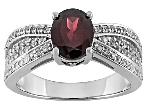 Red And White Zircon Sterling Silver Ring 2.41ctw