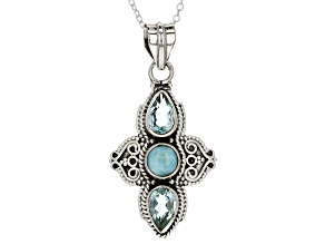 Blue Topaz Sterling Silver Pendant With Chain 2.40ctw