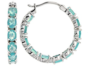 Paraiba Blue Color Ethiopian Opal Rhodium Over Sterling Silver Hoop Earrings 4.50ctw